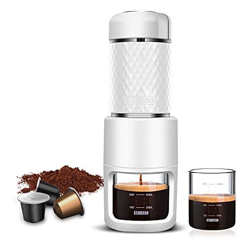 STARESSO Portable Espresso Maker - Mini Espresso Machine with BPA-Free Material for Rich & Thick Crema Manual Espresso Compatible with Ground Coffee Compact Travel Coffee Maker
