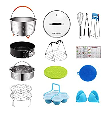 [Affordable Set] House Again Accessories Set for Instapot Pressure Cookers, Compatible with 5/6 Qt - Original Sturdy Steamer Basket with Instant Pot Accessories for All of Life's Need, Dishwasher Safe
