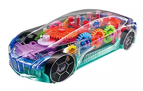 Toyhills Transparent car 3D Concept Super Plastic car Toy for Kids with 360 Degree Rotation Racing,Automatic Gear Simulation with Sound & Light Musical car Toys, Gift for 2 to 5 Year Boys & Girls, Toys and Games- Multicolors