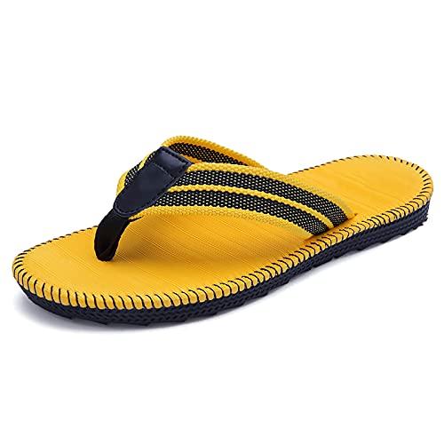 Sandalias Esparto, para Hombre, Cómodo, Zapadas De Pie, De Techo Suave De Tela Suave, Sandalias De Playa De Vacaciones De Verano(Size:37,Color:A)