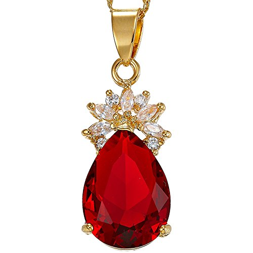 RIZILIA Pendant with 18' Chain & Pear Cut CZ [Simulated Red Ruby] in Yellow Gold Plated, Simple Modern Elegant