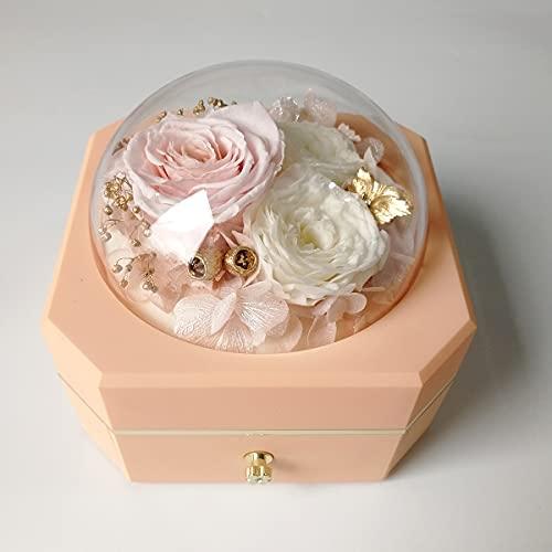 WINNJII Caja organizadora de joyas con rosa preservada en cúpula de cristal para collar de anillo, regalos románticos para ella en cumpleaños, día de la madre, aniversario (rosa)
