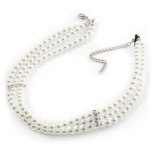 Avalaya 8mm Bridal/Prom/Wedding 3 Strand White Simulated Glass Pearl Fashion Choker - 32cm Long/ 6cm Ext