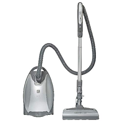 Kenmore Elite 21814 Pet Friendly CrossOver Lightweight Bagged HEPA Canister Vacuum with Pet PowerMate, Telescoping Wand, Retractable Cord, 2 Floor Nozzles, 4 Cleaning Tools-Silver/Gray (Renewed)