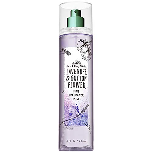 Bath and Body Works LAVENDER and COTTON FLOWER Fine Fragrance Mist 8 Fluid Ounce (2019 Edition)