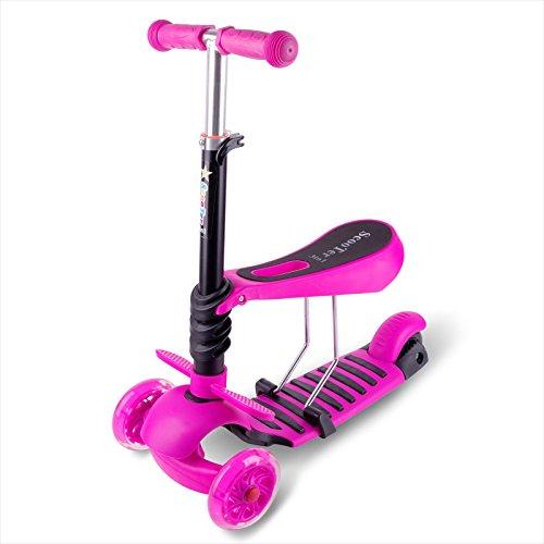 3 in 1 Mini Mitwachsender Dreirad Kinderroller Laufrad zum Laufenlernen LED Räder Scooter aus Aluminiumlegierung für Kinder von 2-5 Jahren in DREI Höhen Verstellbar (rosa)