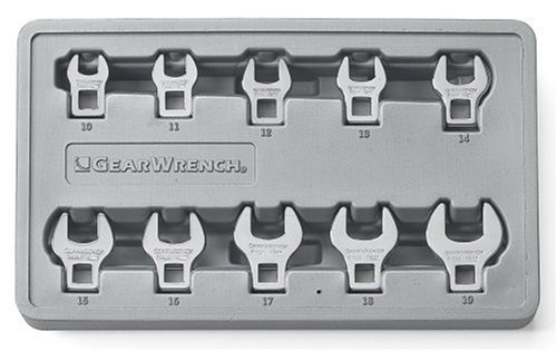 GEARWRENCH 10 Pc. 3/8' Drive Crowfoot Metric Wrench Set - 81909