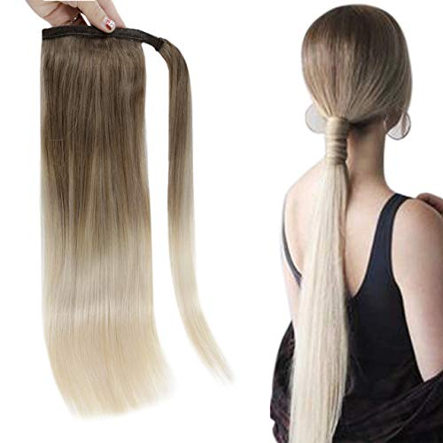 Easyouth Ponytail Hair Extensions Human Hair Natural Clip in Ponytail Color Brown Fading to Blonde Hair Extensions Tied up Ponytail Hair 80g 16Inch Remy Hair One Piece Ponytail