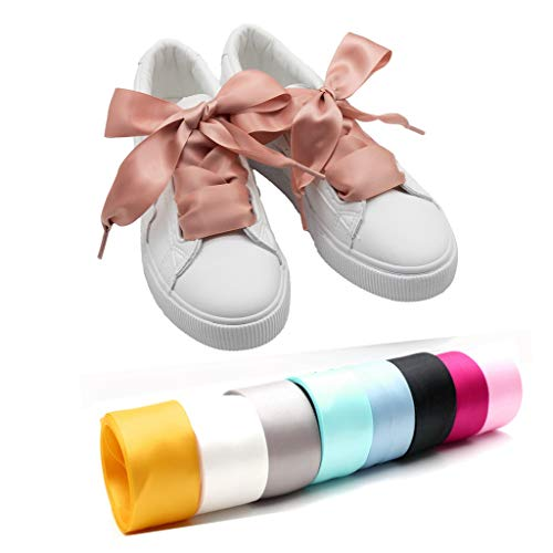 "COOL LACE Satin Ribbon Shoelaces Flat Shoe Laces for Sneakers 1 Pair Pack 32mm Wide 3 Different Lengths (47.2"", Dark Pink)"