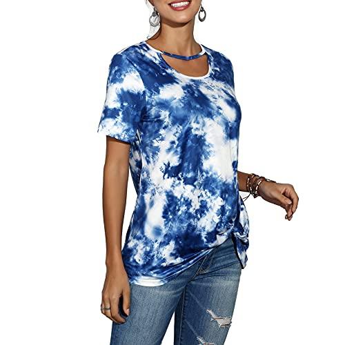 Primavera Y Verano, Jersey Informal para Mujer, Cuello Redondo, Estampado con TeñIdo Anudado, Camiseta Suelta De Manga Corta, Camiseta Superior para Mujer