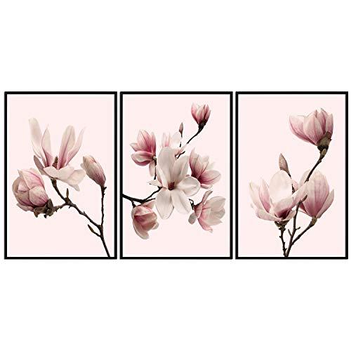 decomonkey | Poster 3er – Set schwarz-weiß Abstrakt Kunstdruck Wandbild Print Bilder Kunstposter Wandposter Posterset Magnolien Blumen Natur Rosa