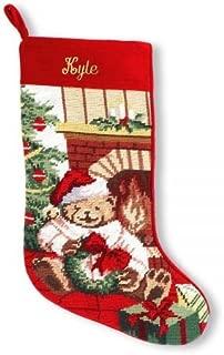 "Lillian Vernon Personalized Heirloom Christmas Stocking – Needlepoint Teddy Bear, 100% Wool, 9.5"" W x 17"" L"