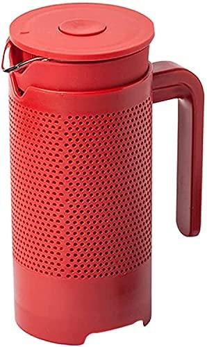 ZXYDD Cafetera de prensa francesa con filtro portátil para café, taza de café de vidrio folículo (color: rojo, tamaño: 350 ml) (color: rojo, tamaño: 350 ml)