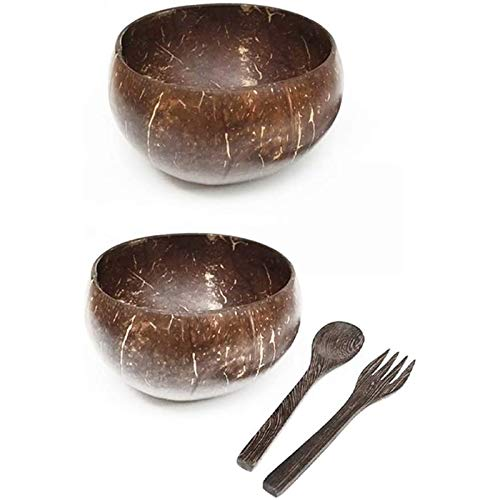Kamenda Coconut Bowls and Wooden Spoon Fork Set,Vegan Organic Salad Smoothie Buddha Acai Bowl for Kitchen, Dining and Decoration