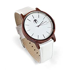 Finally! A beautiful watch with a modern flair! We've expertly designed this all natural, organic red sandalwood watch and paired it with a striking white leather band and face. 100% money back guarantee – we care about our customers. Not satisfied w...