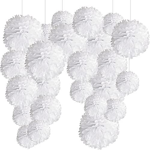 24 Pompones Blanco Decoracion Boda, Flores Pompom de Papel de Seda. Decoración Fiesta Blancos -24 Piezas-
