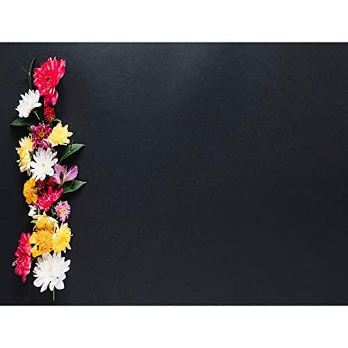 Fondo de fotografía de patrón Floral tablón de Madera Fondo de Fiesta de Flores decoración de cumpleaños Fondo de Vinilo fotográfico A6 5x3ft / 1.5x1m
