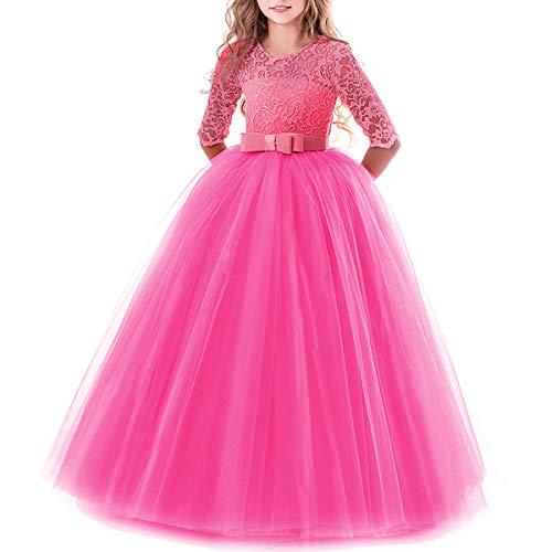 IBTOM CASTLE Brautjungfer Kleider für Mädchen Blumenmädchen Hochzeitskleid Lange Ärmel Schmetterling Festzug Spitze Heißes Rosa 13-14 Jahre