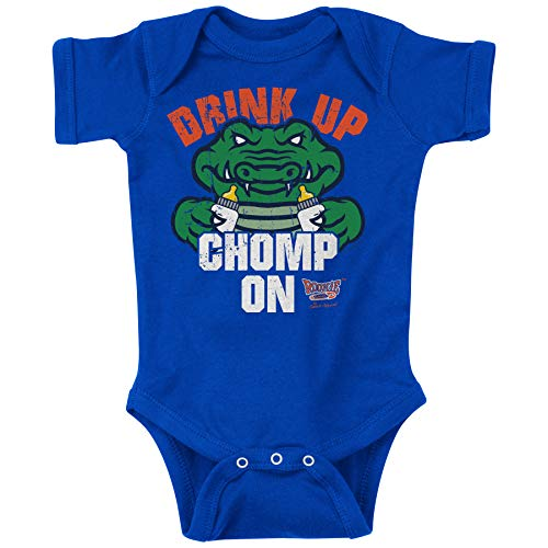 Rookie Wear by Smack Apparel Florida Football Fans. Drink Up Chomp On. Blue Onesie (NB-18M) (6M)