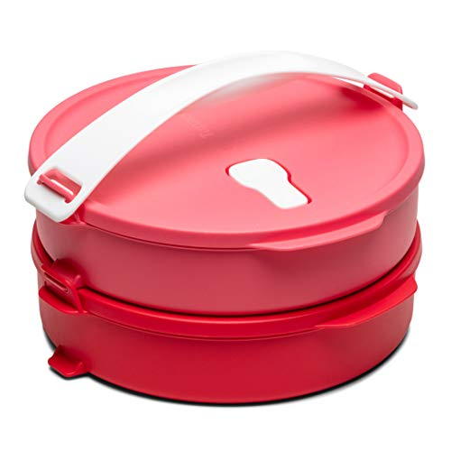 Tupperware Click to Go Round Food Carrier 880 Ml Plastic Red, Pink