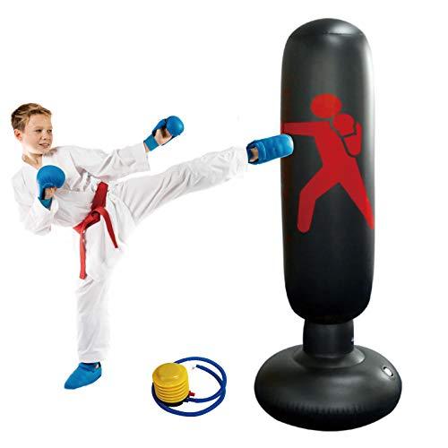 KIKILIVE boxsack Kinder standboxsack Kinder 160cm Standboxsäcke boxsack stehend Boxen für Kinder von Karate, Taekwondo, Sandsäcke Kick Kampftraining mit Luftpumpe Enthalten