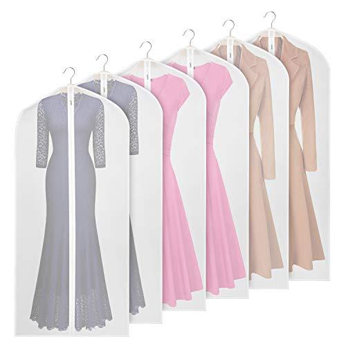 Univivi Garment Bag 60 inch Suit Bag for Storage(Set of 6),Washable Clear Lightweight Garment Bags for Long Dress Dance Costumes Suits Gowns Coats