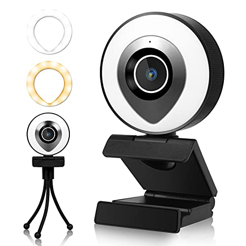 LITAKE 2K HD Webcam mit Mikrofon, Streaming Webcams mit Einstellbarer Ringlicht und Stativ, USB Kamera Autofokus Plug and Play für Computer Video Chat