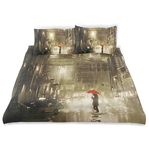 Qoqon Duvet Cover Set Woman with Red Umbrella in Street at Rainy Night Town Shadow Urban Scenery Artwork Decorative 3 Piece Bedding Set with 2 Pillow Shams