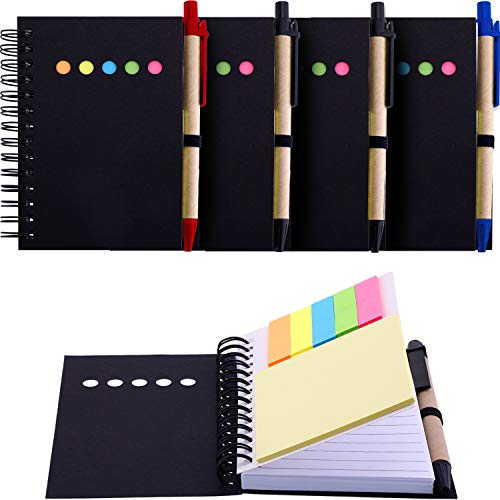 Maxdot 4 Pieces Kraft Paper Steno Pocket Business Notebook Spiral Lined Notepad Set with Pen in Holder, Sticky Colored Notes Page Marker Tabs (Black Cover)