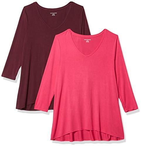 Amazon Essentials Paquete de 2 Camisetas de Manga 3/4 con Cuello en V Fashion-t-Shirts, Rosa Brillante/Borgoña, US L (EU L - XL)