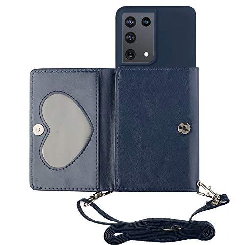Miagon Halskette Hülle für Samsung Galaxy S21 Ultra,Verstellbar PU Leder Brieftasche Handykette Schultergurt Silikon Handyhülle mit Band und Kartenhalter Kordel zum Umhängen,Marine Blau