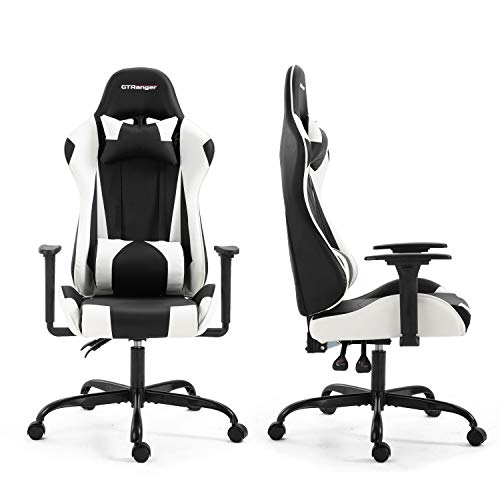 Gaming Chair Racing Style High Back Computer Gaming Chair Leather Office Desk Chair with Headrest and Lumbar Support (Black & White)