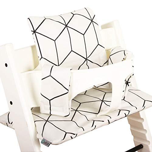 Beschichtetes Sitzkissen Sitzverkleinerer Kissen von UKJE für Stokke Tripp Trapp Beschichtet Praktisch und dick gepolstert Weiß Geometrisch Maschinenwaschbar 2-teilig Öko-Tex Baumwolle
