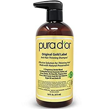 PURA D OR Original Gold Label Anti-Thinning Biotin Shampoo  16oz  w/ Argan Oil Nettle Extract Saw Palmetto Red Seaweed 17+ DHT Herbal Actives No Sulfates Natural Preservatives For Men & Women