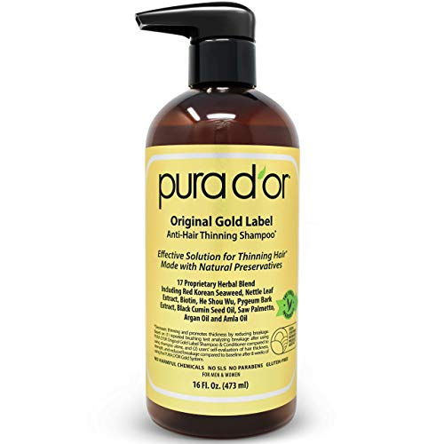 PURA D OR Original Gold Label Anti-Thinning Biotin Shampoo (16oz) w  Argan Oil, Nettle Extract, Saw Palmetto, Red Seaweed, 17+ DHT Herbal Actives, No Sulfates, Natural Preservatives, For Men & Women