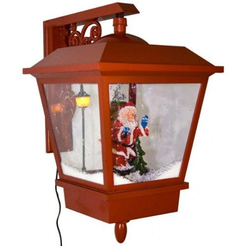 Unbekannt Schneiende Wandlaterne LED Weihnachtsmann rot Weihnachslaterne Leuchte Laterne Lampe