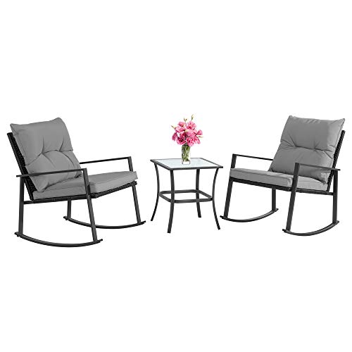 JY QAQA Outdoor 3-Piece Rocking Bistro Set, Patio Wicker Furniture Conversation Sets-2 Chairs with Glass Coffee Table(Grey Cushion)