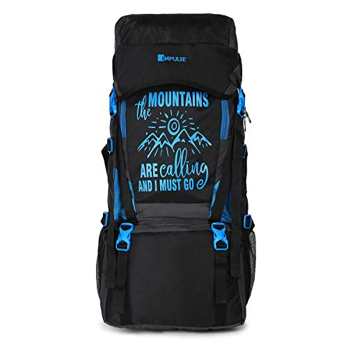 Impulse Mountains - 55 L Water Resistant Rucksack Hiking Backpack/Bag for Trekking/Camping/Travel/Outdoor Sport( Blue&Black)