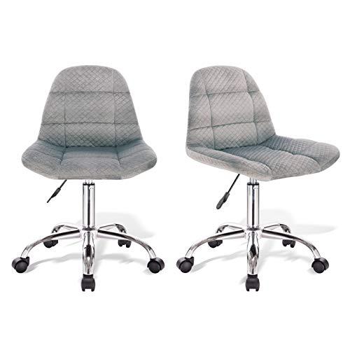 PROMECITY Chaise de Bureau Lot de 2,Chaise de Bureau Ergonomique Grise Chaise Pivotante Réglable en Hauteur