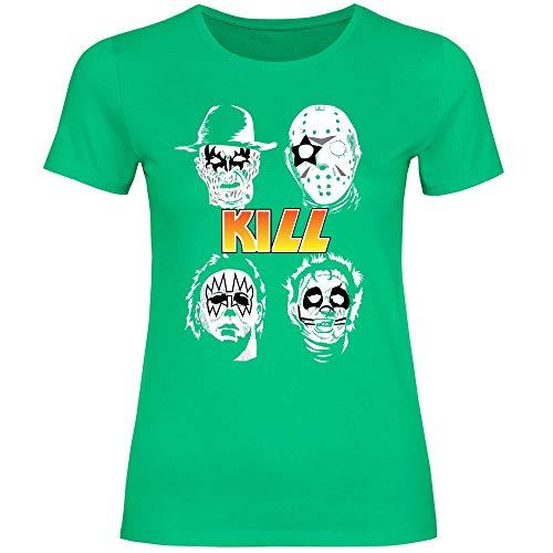 wowshirt Damen T-Shirt Halloween Horror Film Jason Michael Myers Serienmörder, Größe:XL, Farbe:Kelly Green