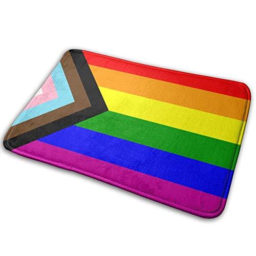 Felpudo con bandera de Orgullo Gay y LGBT, tapete de puerta interior suave de perfil bajo para jardín, cocina, dormitorio, entrada, tapetes de puerta con respaldo antideslizante para decoración de hog