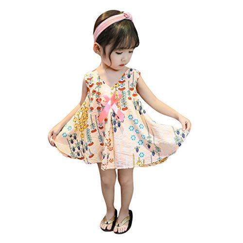 Mädchen Kleinkind Baby Sommer Kinder Kleider Ärmel Strand Strampler Tops Blumen Geraffte Overall Prinzessin Print Lace Tutu Party Outfits Sets Kleidung Kleid (Alter: 2-3 Jahre, Rosa)