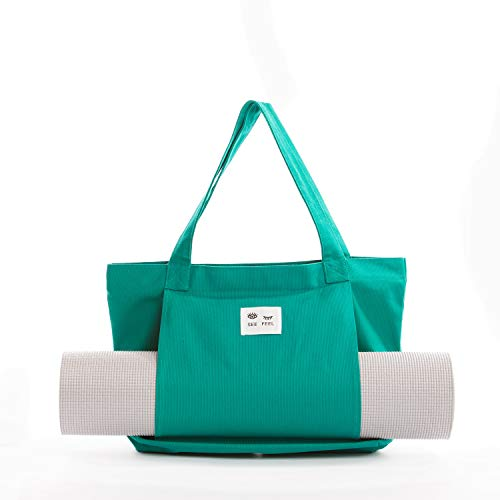 Canvas Tote Bag with Yoga Mat Carrier Sleeve in Anthracite Gray