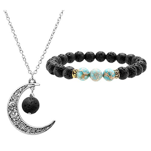 Jovivi Lava Beads Imperial Jasper Crystal Anxiety Chakra Aromatherapy Bracelet Lava Stone Essential Oil Diffuser Necklace - Crescent Moon Jewellery