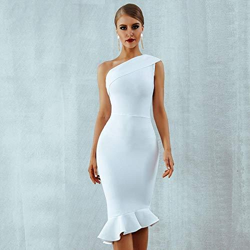M & A Sommer Frauen Bandage Kleid Sexy One Shoulder Ärmellose Rüschen Nachtclub Promi Abendparty Meerjungfrau Kleider-Weiß_XS