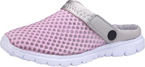 Gaatpot Damen Herren Clogs Pantoletten Slip On Outdoor Hausschuhe Freizeit Mesh Strand Sandale Schuhe Sommer Pink 35 EU = 35 CN