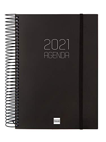 Finocam - Agenda 2021 1 Día página Espiral Opaque Negro Español - 175 x 212 mm