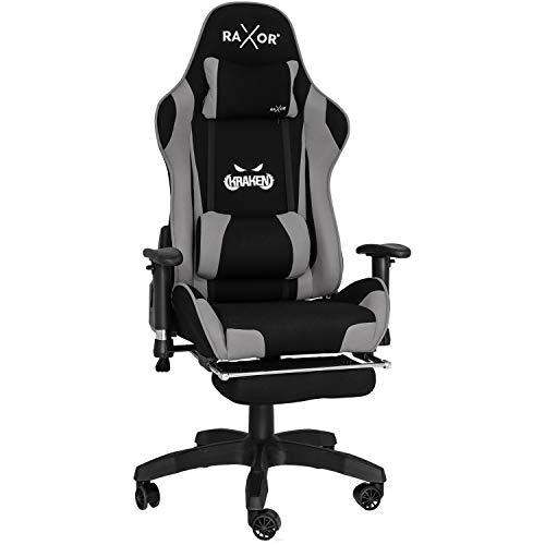 RAXOR Racing Hochwertiger Bürostuhl Gaming Stuhl,Ergonomischer höhenverstellbar Schreibtischstuhl Chefsessel Computerstuhl Drehstuhl mit einstellbaren Armlehnen, PU Sportsitz Racing Chair(Grau)