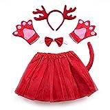 Disfraz de reno de lote - para niña - niña - tutú - diadema - guantes - pajarita - cola - - disfraces accesorios halloween cosplay halloween - color rojo