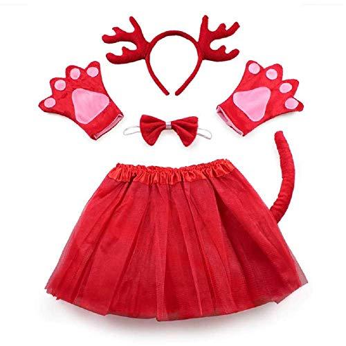 Set Costume da Renna - per bambina - Bimba - Tutù - Cerchietto - guanti - papillon - coda - Natale - Travestimento Accessori Carnevale Halloween Cosplay - Colore Rosso